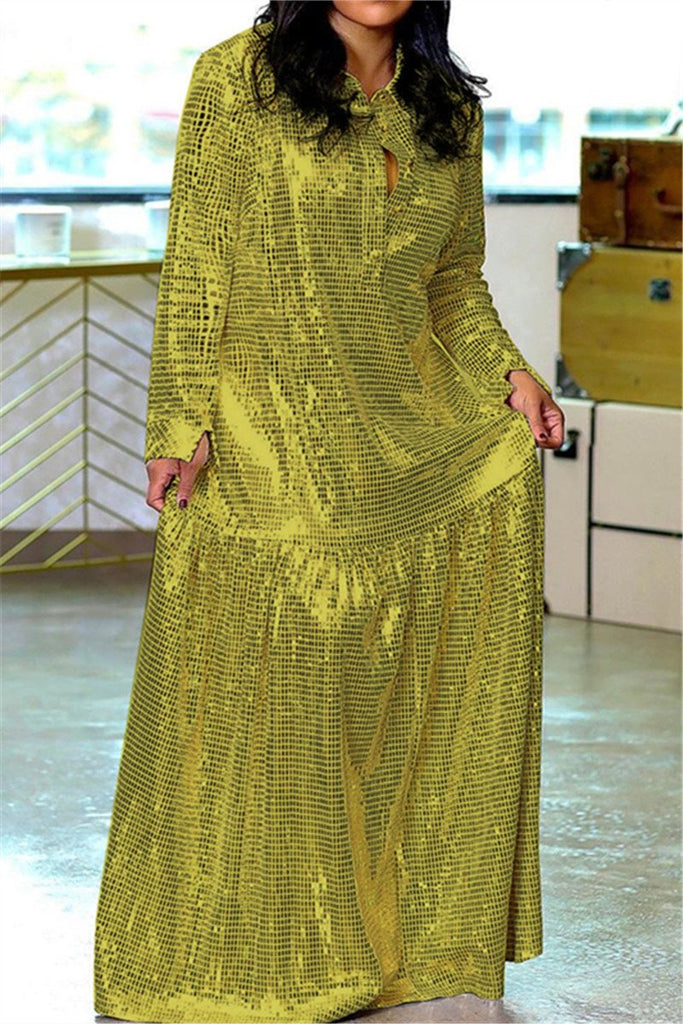 Hot Drilling Long Sleeve Maxi Dress