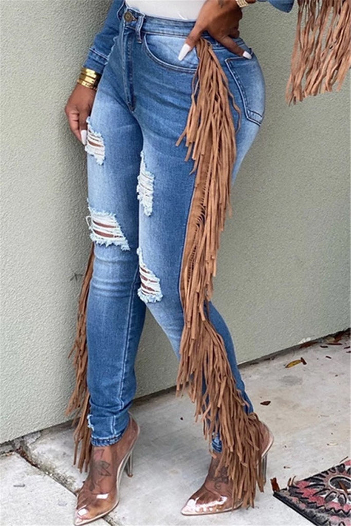 Distressed Tassels Decor Mid Wash Jeans