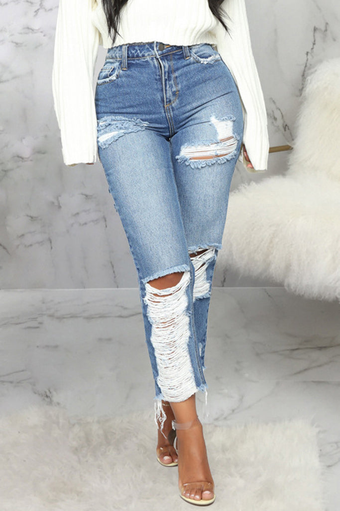 Hole Distressed Denim Straight Jeans