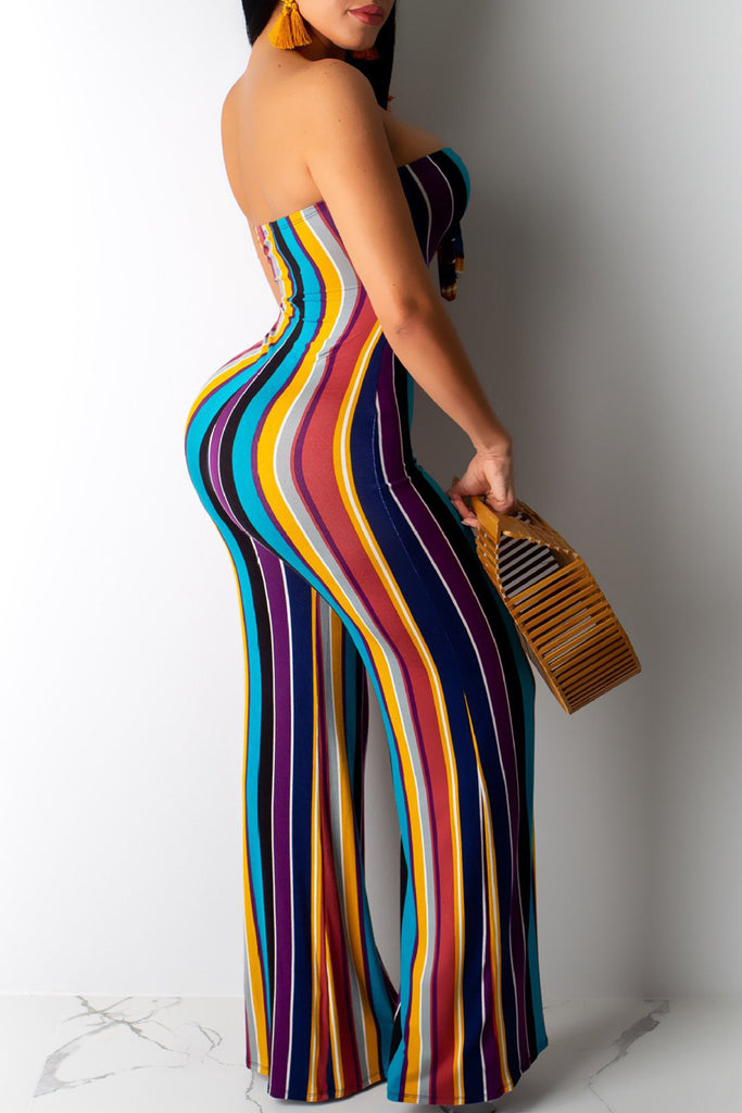 Strapless Open Back Tie Up Stripe Print Jumpsuit