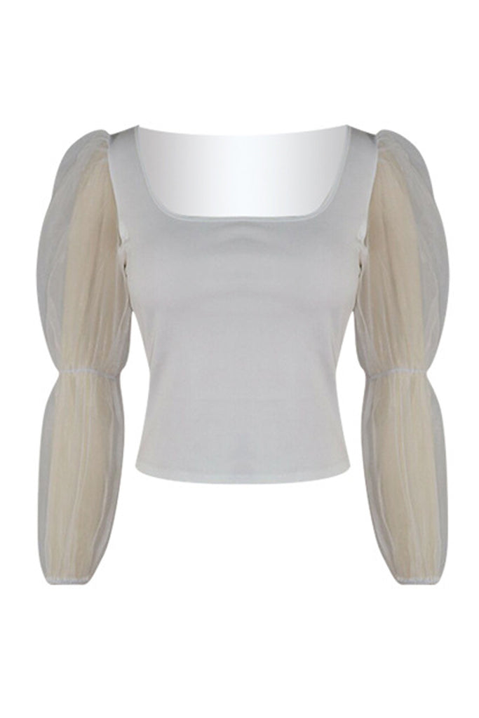 Scoop Neck See-through Mesh Patchwork T-shirt