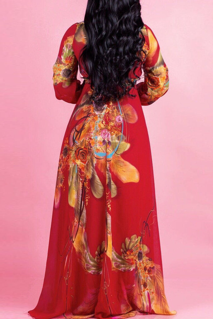 Casual Digital Print V-neck Long Sleeve Maxi Dress Plus Size