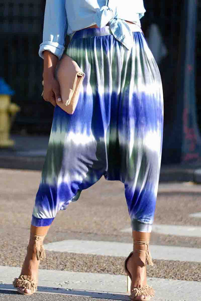 Casual High Wasit Placement Print Harem Pants