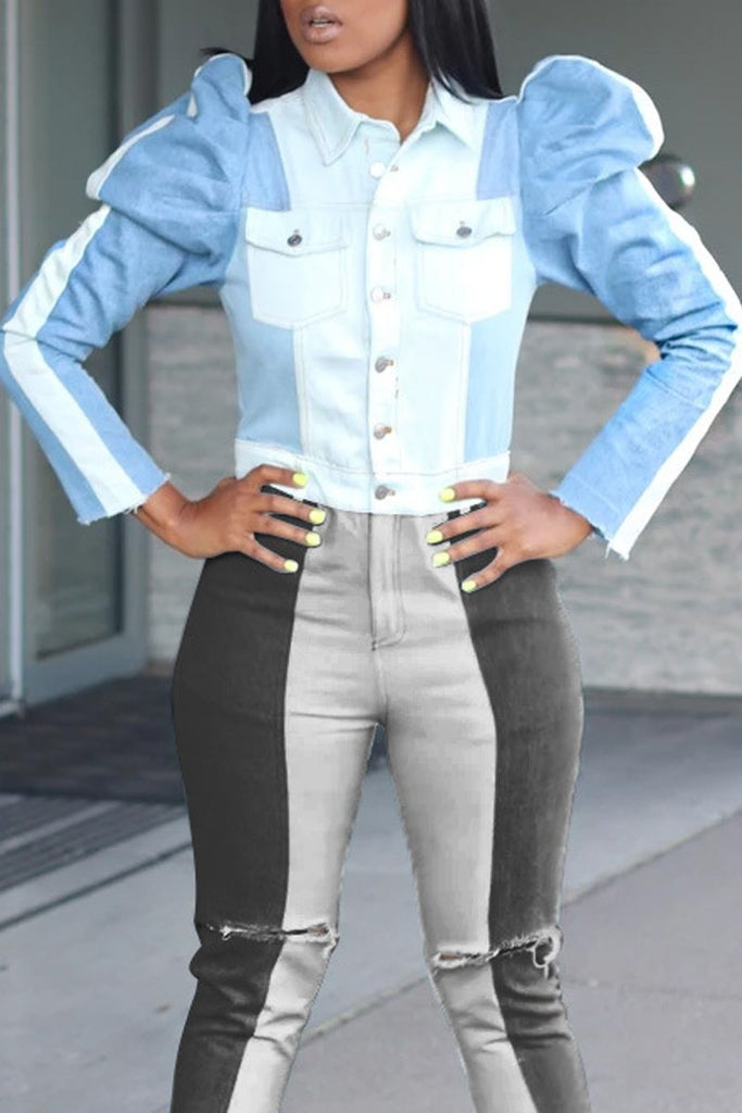 Color Block Denim Puff Sleeve Jacket