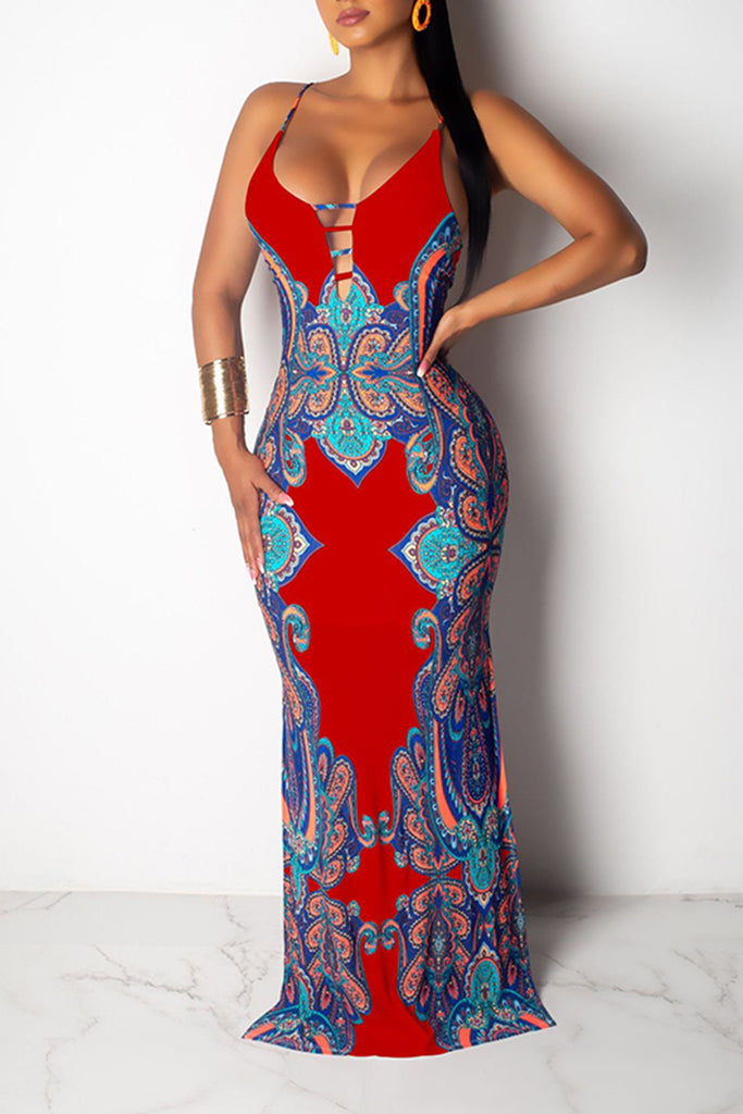 Nation Print Pierced Sleeveless Maxi Dress