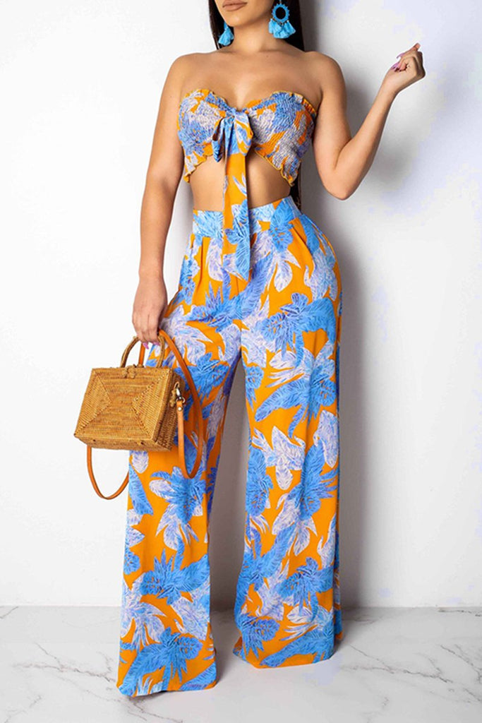Bowknot Strapless Floral Print Top & Wide Leg Pants