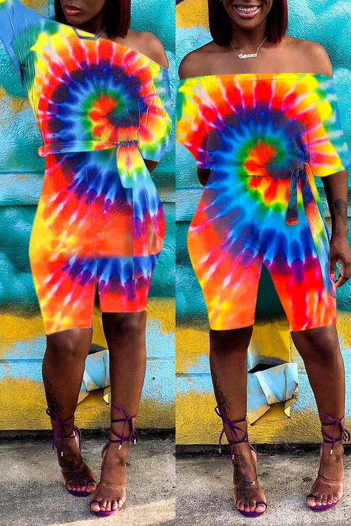 Plus Size Tie Dye Off The Shoulder Belted Romper