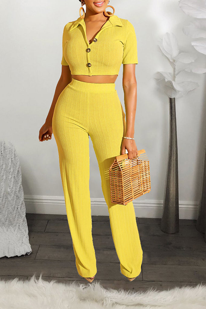 Solid Color Rib Short Sleeve Two Piece Sets