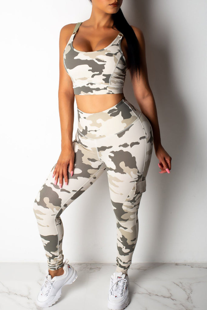 Scoop Neck Camouflage Printed Hollow Out Top & Pants