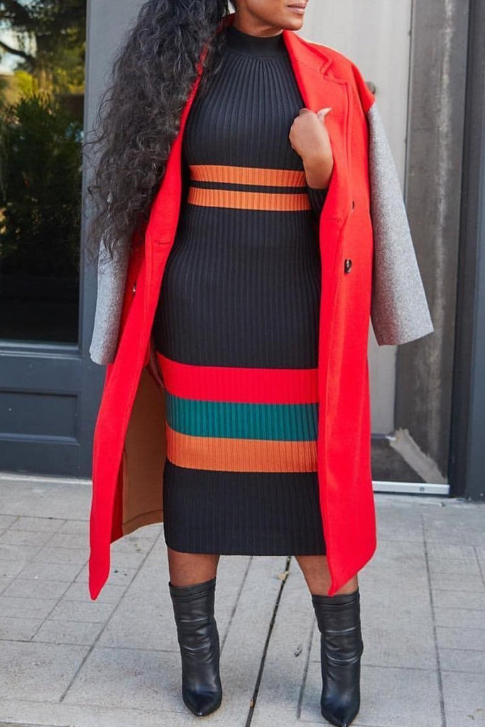 High Neck Stripe Mixed Color Long Sleeve Midi Dress