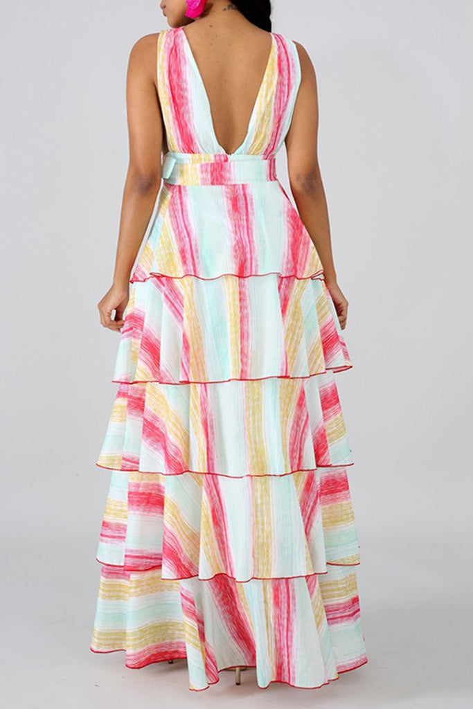 Rainbow Sleeveless Ruffled Belted Maxi Dress