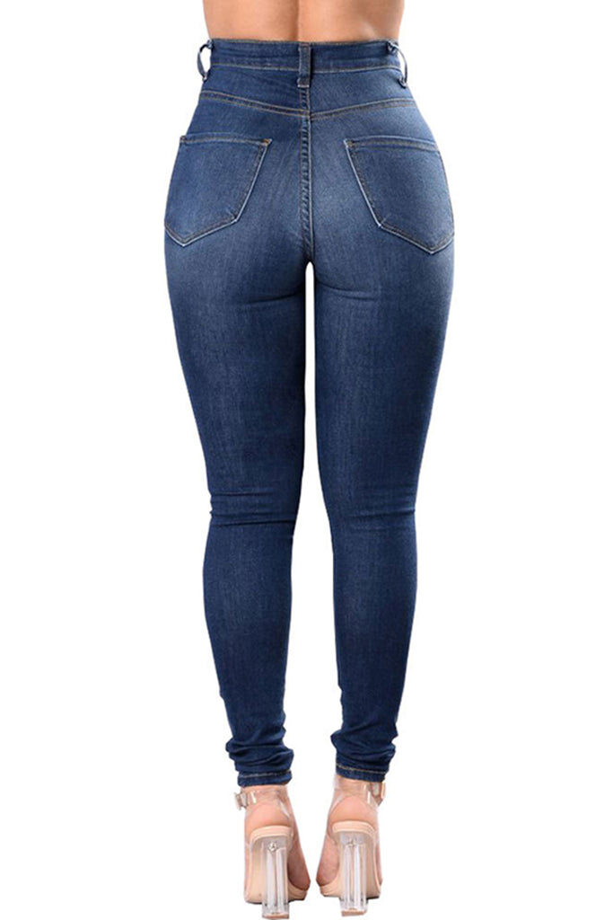 Distressed Plus Size Denim Bodycon Jeans