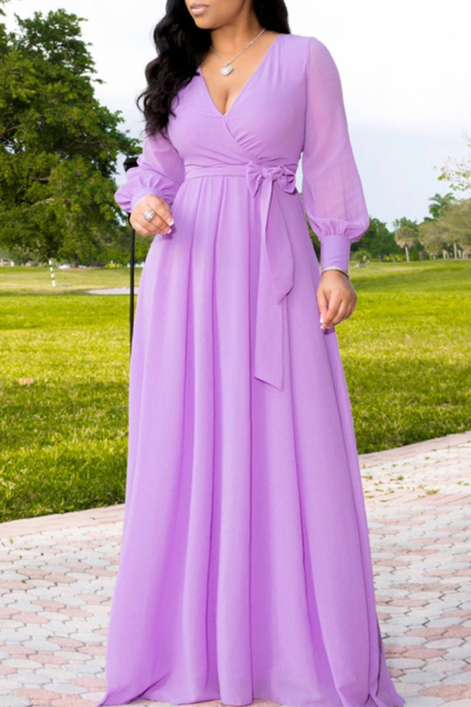 Solid Deep V Neck Long Sleeve Belted Maxi Dress