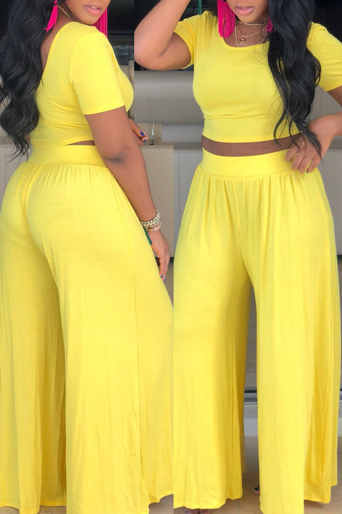 Round Neck Solid Color Top & Wide Leg Pants