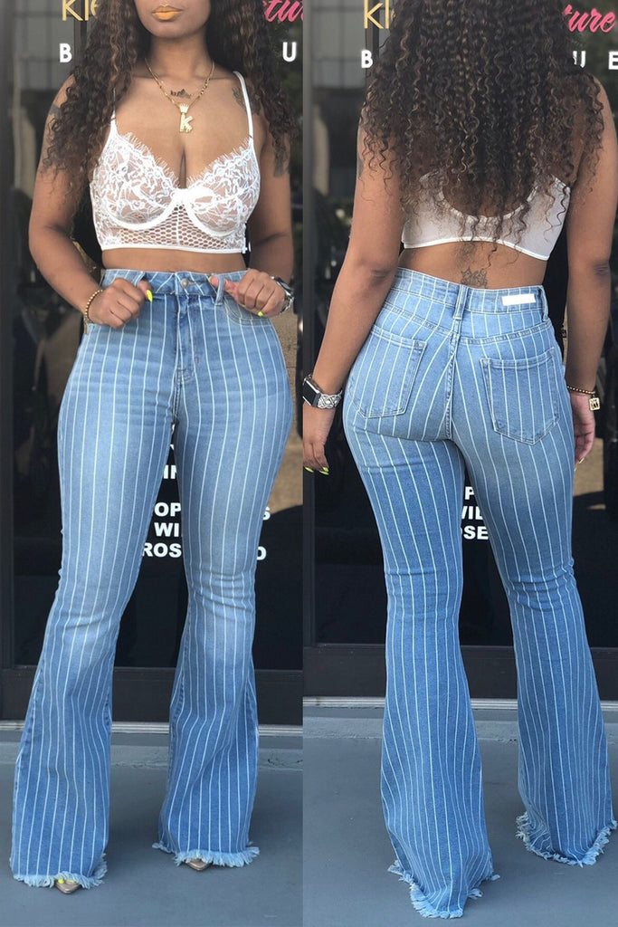 Denim High Waist Stripe Print Flare Pants