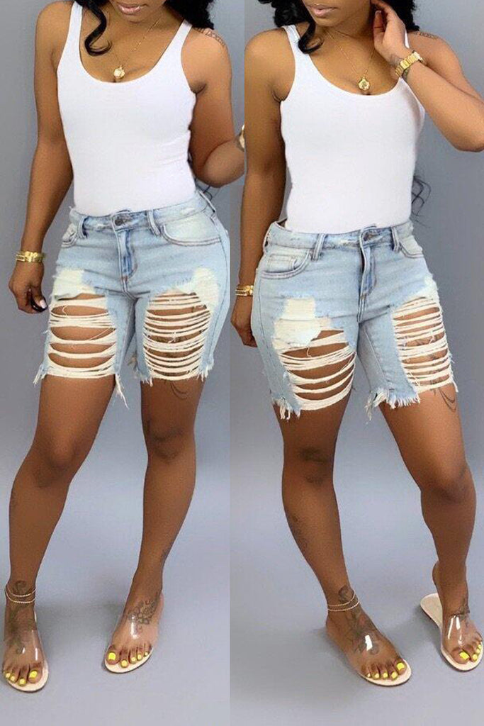 Hole Distressed Denim Solid Color Shorts