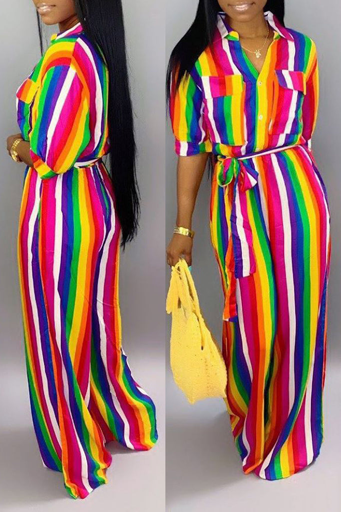 Turndown Collar Rainbow Striped Belted Jumpsuit