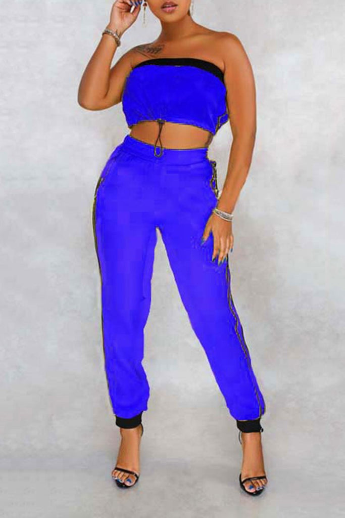 Side Striped Solid Color Strapless Top & Pants