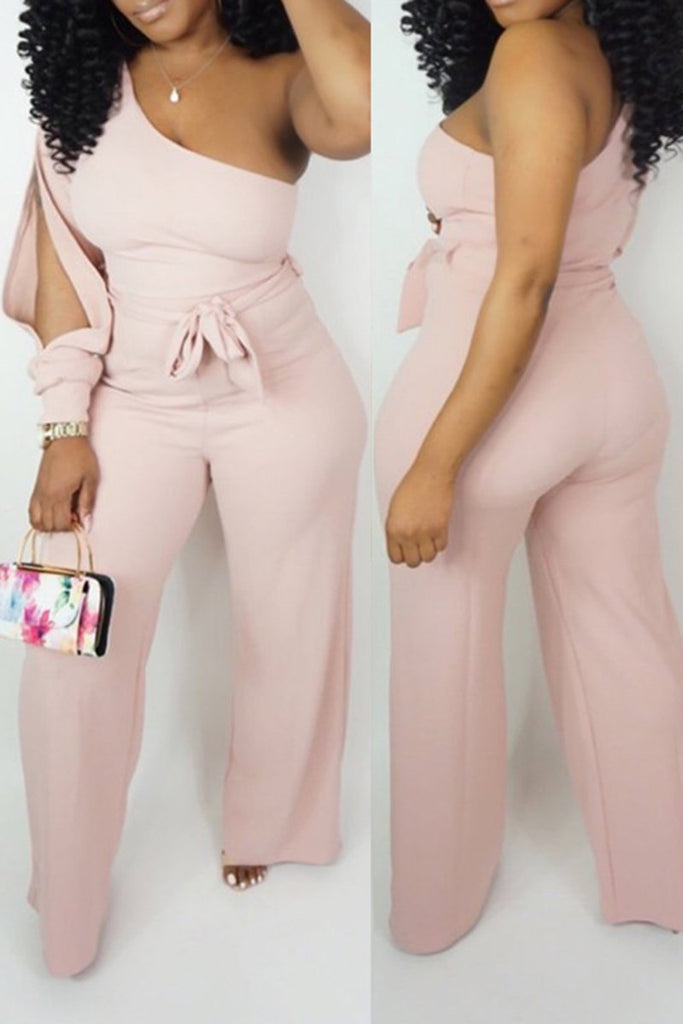 Off One Shoulder Pierced Belted Wide Leg Jumpsuit