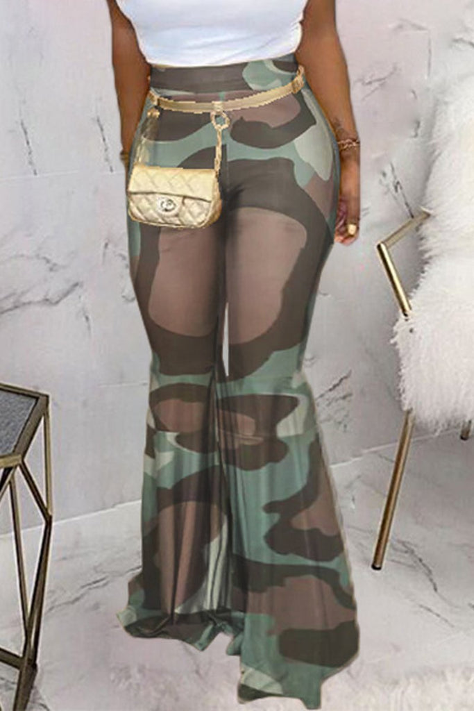 Camouflage Printed High Waist Flare Pants