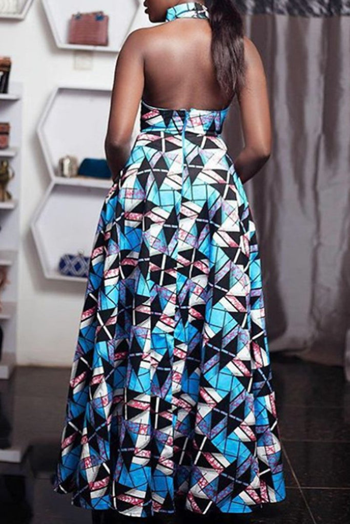 Geometric Print Halter Neck Sleeveless Maxi Dress