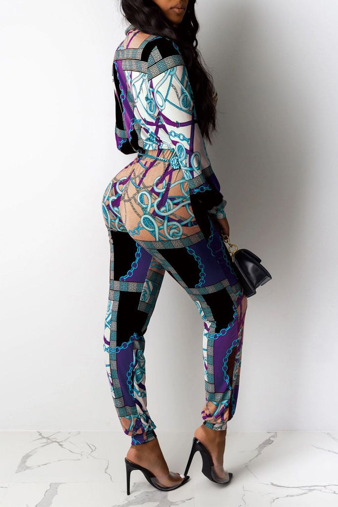 Digital Print Turndown Collar Jumpsuit Without Belt