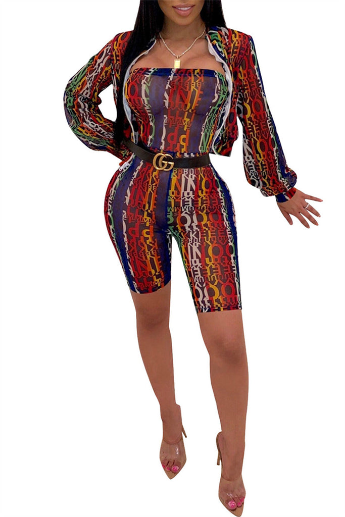 Printed Long Sleeve Two Piece Outfits