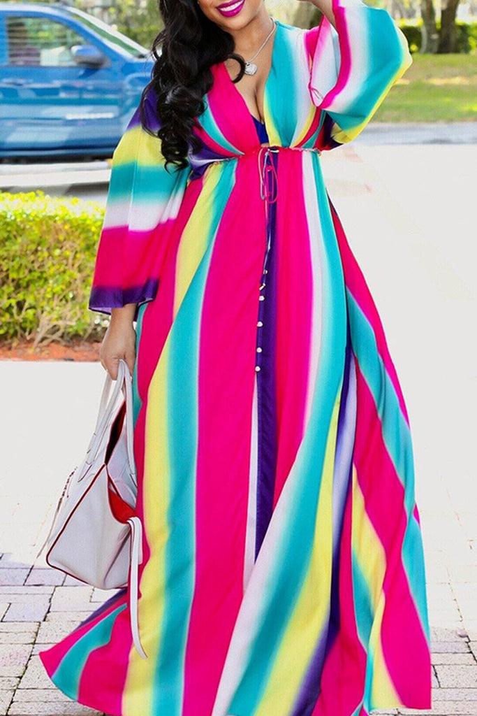 Rainbow Striped Drawstring Waist Slit V Neck Maxi Dress