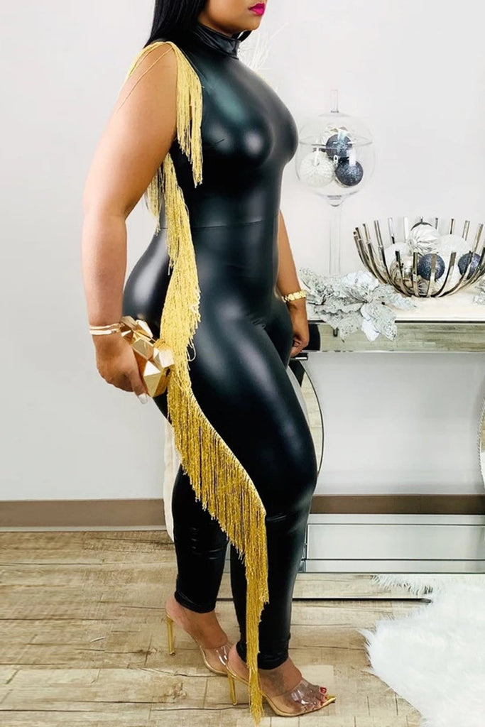 Sleeveless PU Tassel Jumpsuit Without Belt