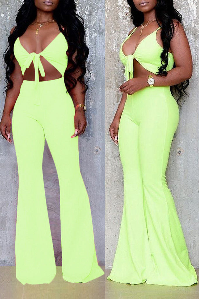 Deep V Neck Tie Up Open Back Jumpsuit