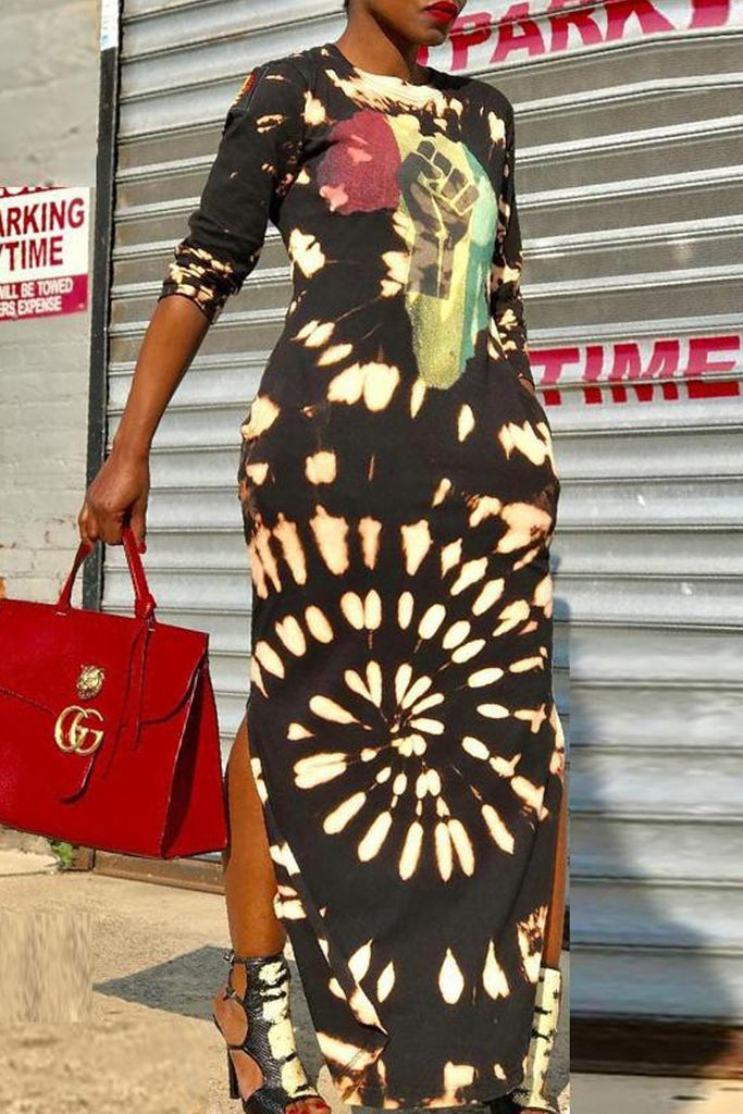 Fashion Print Round Neck Long Sleeve Maxi Dress - MISSINLOOK