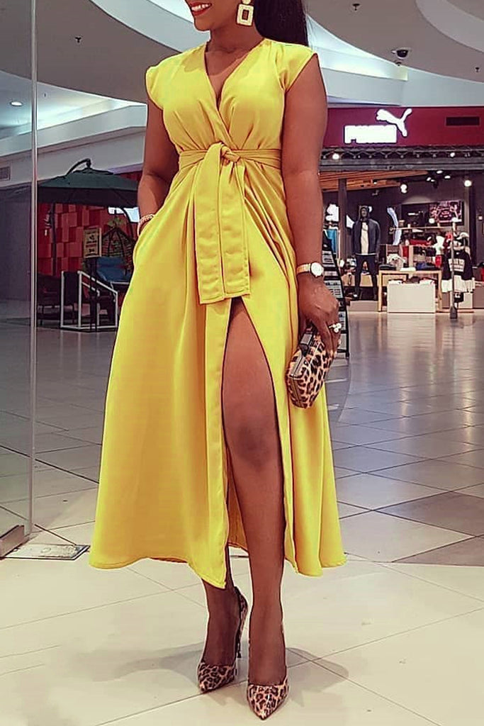 Solid V-neck High Slit Belted Midi Dress