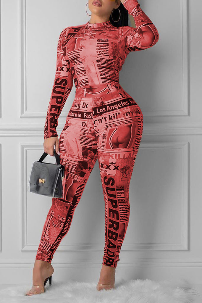 Placement Print Long Sleeve Bodycon Jumpsuit
