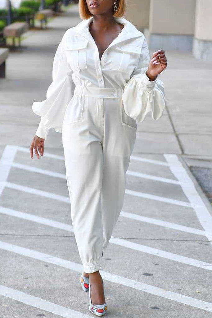 Thicken Turndown Collar Lantern Sleeve Jumpsuit Without Belt