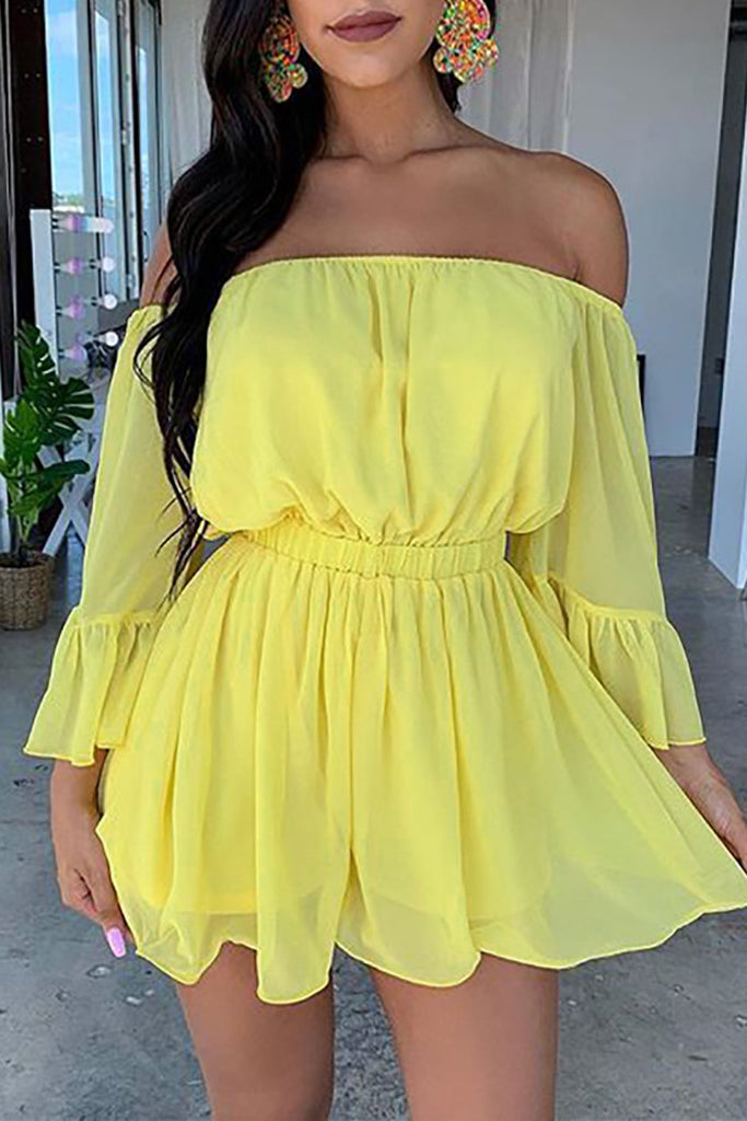 Off The Shoulder Solid Long Sleeve Mini Dress