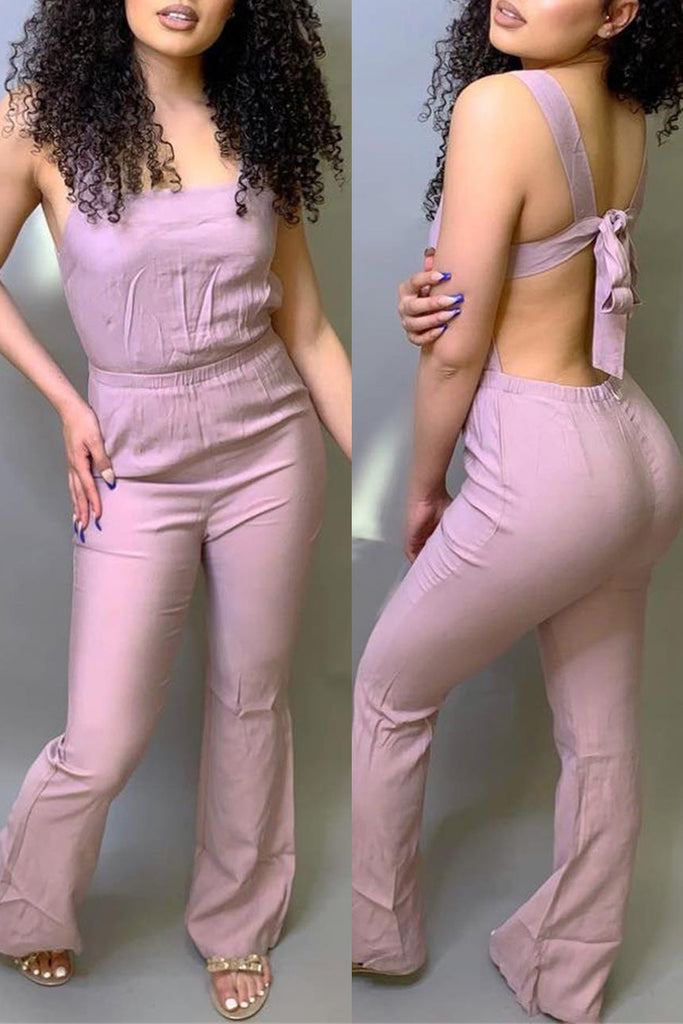Sleeveless Solid Tie Up Open Back Jumpsuit