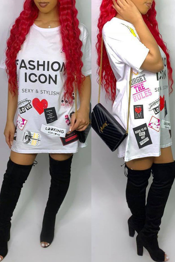 Casual Patchwork Letter Print Short Sleeve T-shirt Mini Dress