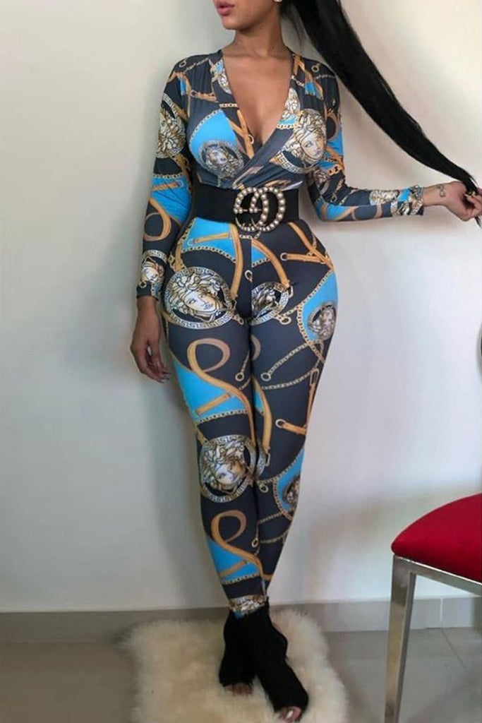 Deep V Neck Printing Jumpsuit Without Belt