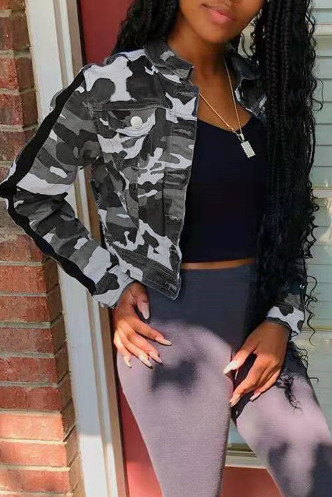Denim Camouflage Printed Jacket