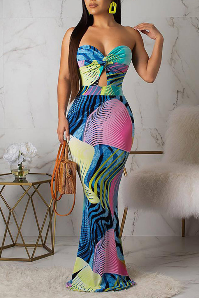 Strapless Printed Open Back Mermaid Dress