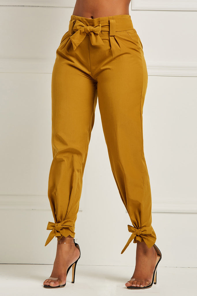 Bowknot Solid Color Pencil Pants