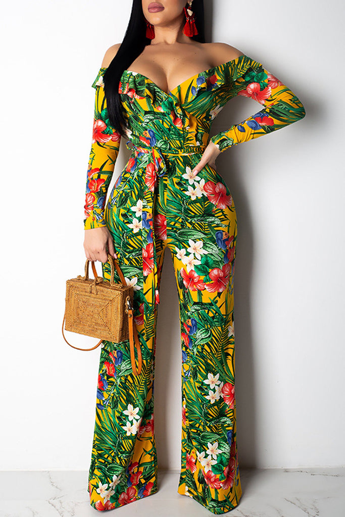 Ruffle Print Off The Shoulder Belted Jumpsuit