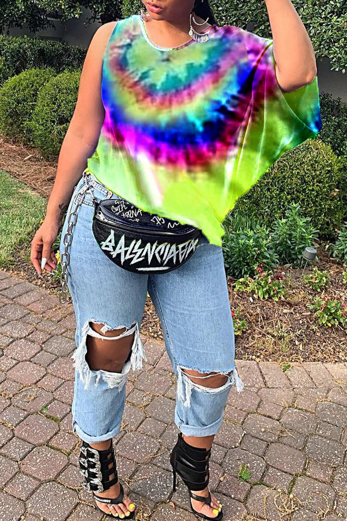 Tie Dye One Shoulder Casual T-shirt