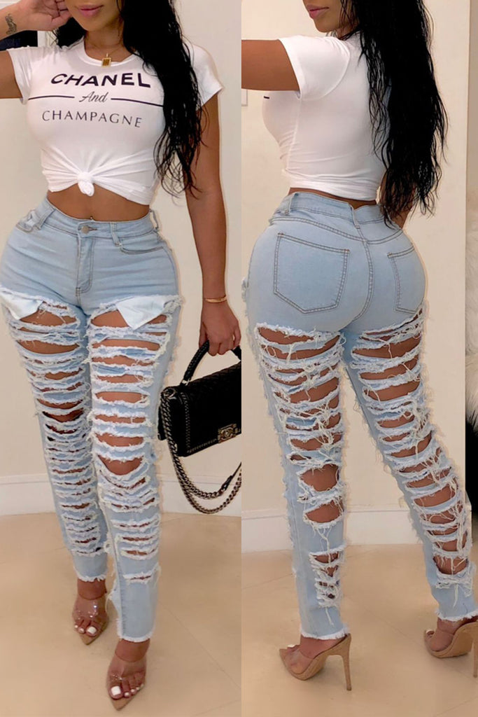 Denim High Waist Ripped Pencil Pants