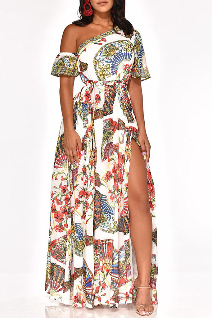 Skew Neck High Slit Placement Print Maxi Dress