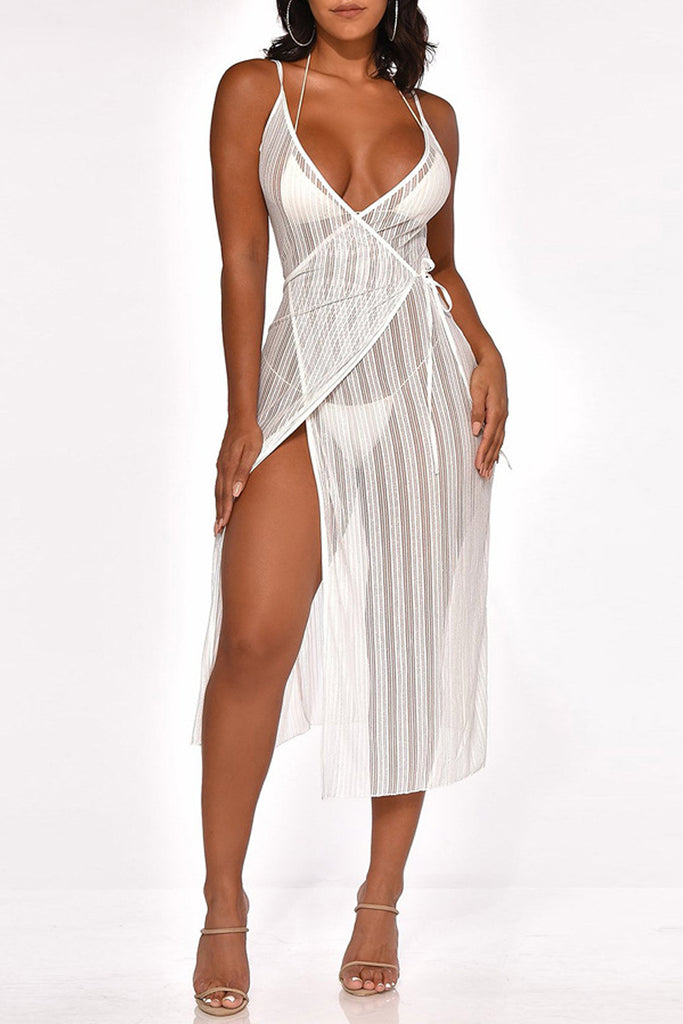 See-through V Neck Tie Up Spaghetti Straps Midi Dress