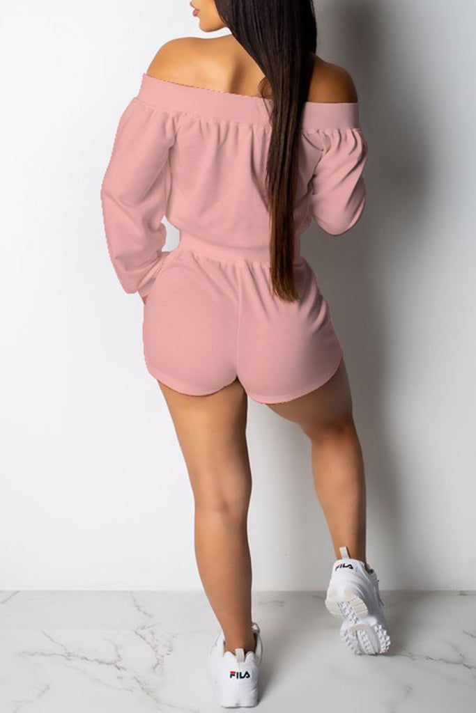 Off The Shoulder Lace Up Long Sleeve Romper