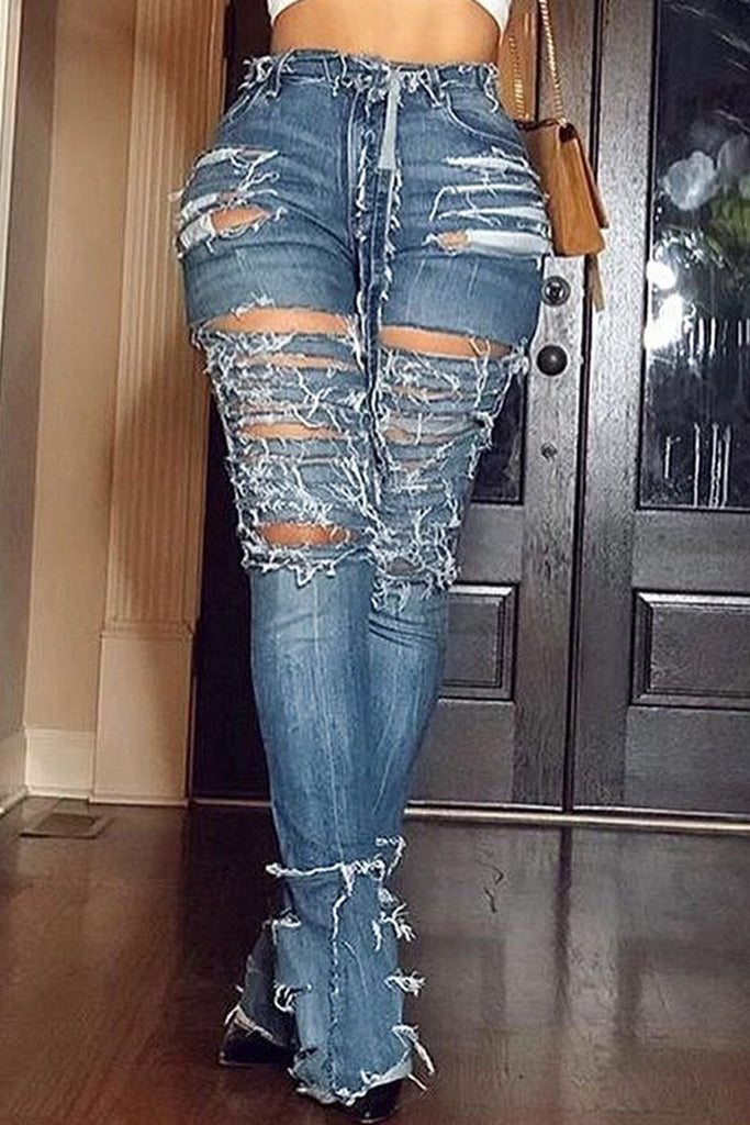 Plus Size Hole Distressed Denim Flare Jeans