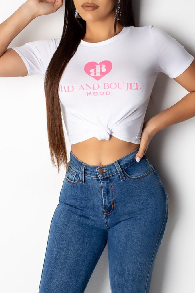 Casual Letter Print Short Sleeve Crop T-shirt