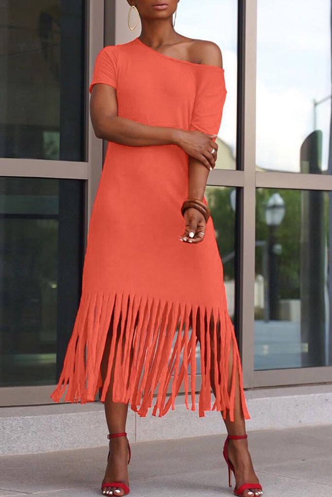 Solid Short Sleeve Tassel Hem Maxi Dress